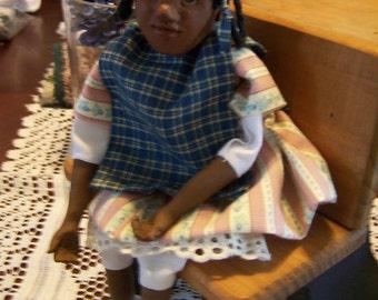 """OOAK Art Doll   """"JESSY""""   Folk  Art  hand sculpted  Original  Art , Polymer clay     by Connie"""