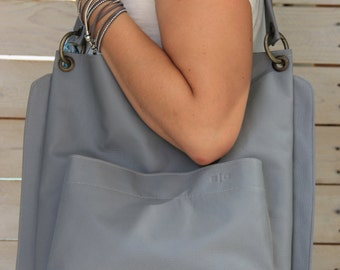 Grey tote bag, Vegan Handbag, Vegan leather handbag, Leather Shopper bag, Shoulder bag and purse, Classic tote bag, Everyday bag