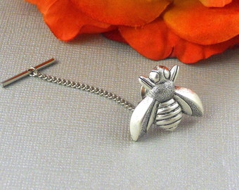 Silver Bee Bumble BeeTie Tack, Vintage Inspired, Bumble Tie Pin, Insect Tie Pin