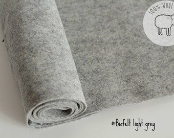 "Pure wool felt fabric, Light grey felt roll  of 20cm x 91cm (9"" x 36"" ), 1- 1.5mm,  strips of 1 yard - Ships from Ireland"