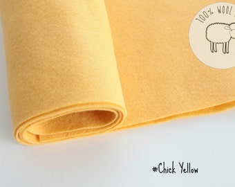 "Wool felt roll, wool felt fabric in Chick Yellow, pure wool felt band 20cm by 91cm (9"" x 36""), 1 - 1,5mm - Ships from Ireland"