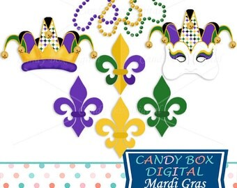 Mardi Gras Clipart, Mardi Gras Clip Art, Mardi Gras Digital, Mask Clipart, Mask Clip Art, Jester Clipart - Commercial Use OK