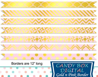 Gold and Pink Ribbon Border Clipart, Gold Border Clip Art - Commercial Use OK