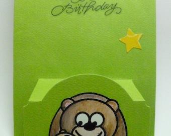 Masculine Happy Birthday pop up card, Bear Cub and Big Bear, Card for Dad, Card for Grandpa, Card for boy