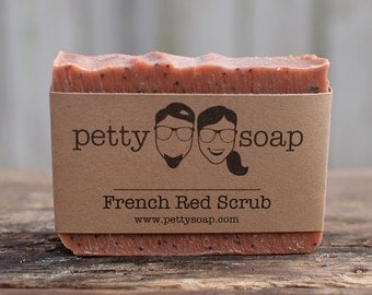 French Red Scrub - All Natural Soap, Cold Process Soap, Vegan Soap, Handmade Soap