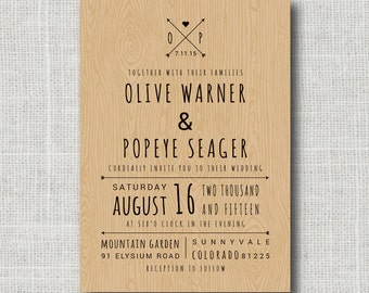 Rustic Inspired Wedding Invitation Card & Wood Background - Typography with Old Fashioned Graphics - DIY Printable