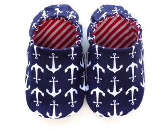 Nautical Baby Boy Shoes with Anchors, 0-6 mos. Baby Booties, Soft Sole Shoes, Crib Shoes, Anchors, Baby Boy Gift, Red White and Blue Baby