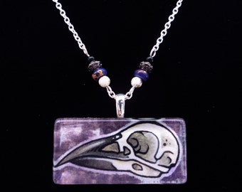 Crow Skull Hand Painted Watercolor Glass Tile Necklace