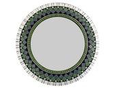 Round Mosaic Mirror, Green Black Silver, Decorative Mirror, Wall Art