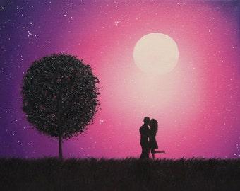 Couple in Love Art Print, Kissing Couple Silhouette Art, Lover's Kiss, Silhouette Couple, Romantic Art Anniversary Gift Idea, Wedding Gift