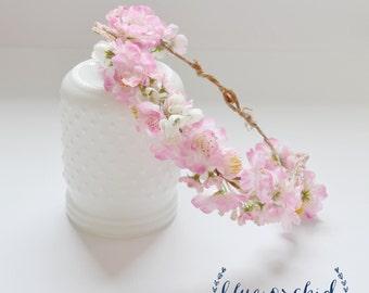 Pink Cherry Blossom Crown - Floral Crown, Floral Headpiece, Flower Crown, Flower Headpiece, Pink Flower Crown, Wildflower Crown