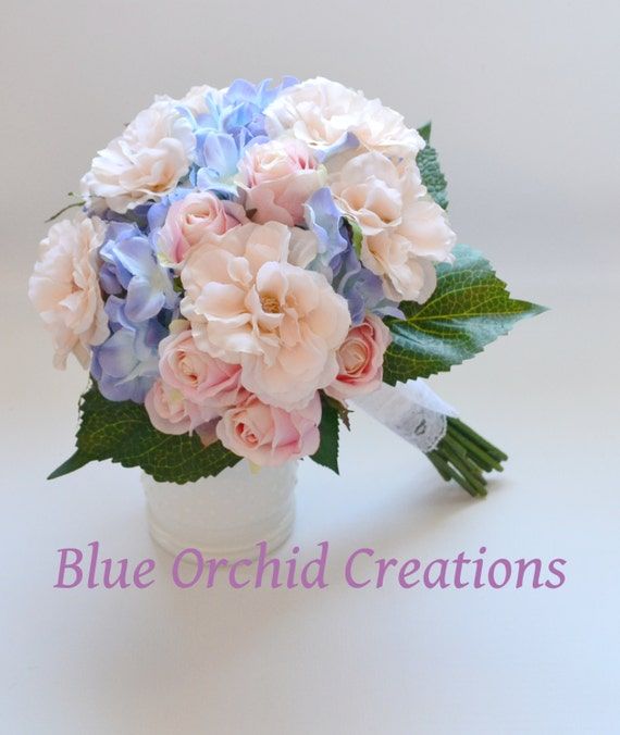 Pink Garden Rose And Hydrangea Bouquet hydrangea bouquet blue hydrangeas country wedding bouquet