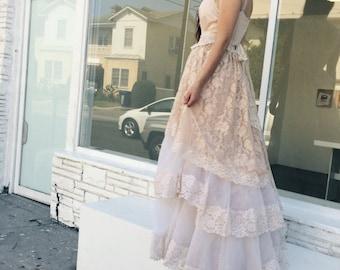 blush cream and sand chiffon & lace tiered boho wedding dress by mermaid miss k