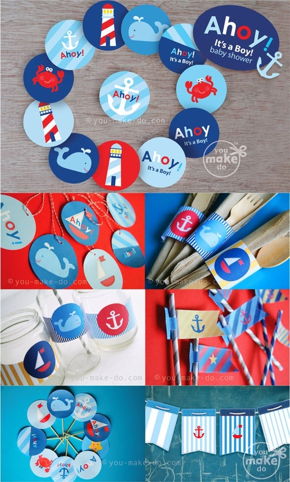 instant download ahoy it 39 s a boy nautical baby shower decorations