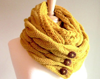 Infinity Loop Scarf Braided Cable Lightweight Knit Neckwarmer Circle Scarves with Buttons Mustard Gold Yellow Women Girls Accessories