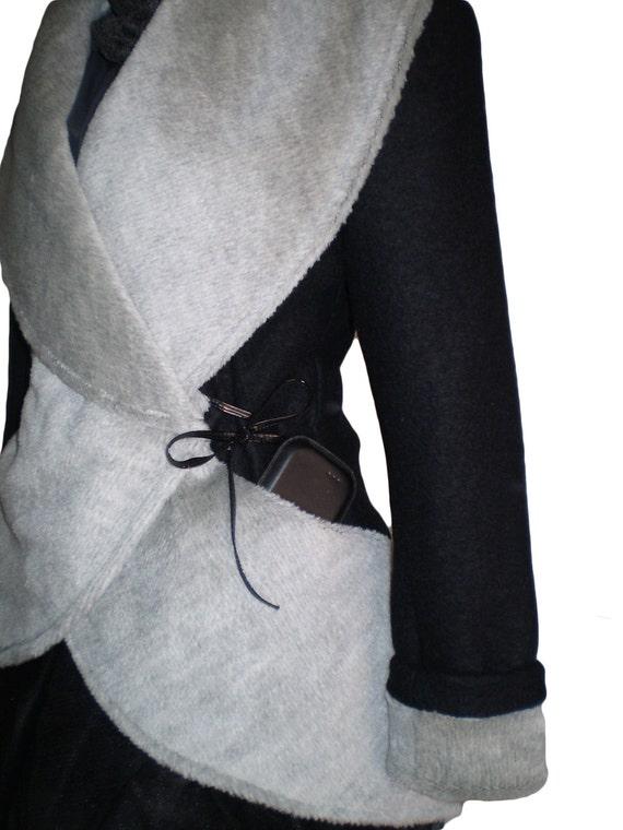 Wool  jacket/  woman winter coat/ black and gray , big collar jacket High Collar Jacket Winter Wool Women Coat