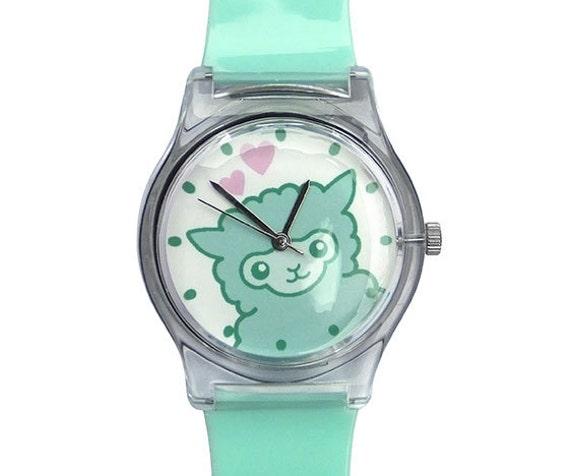 Alpaca Watch - Cute Pastel Watch with Alpacas - Kawaii - Pastel - Mint Green Watch - Cute Alpaca Gift