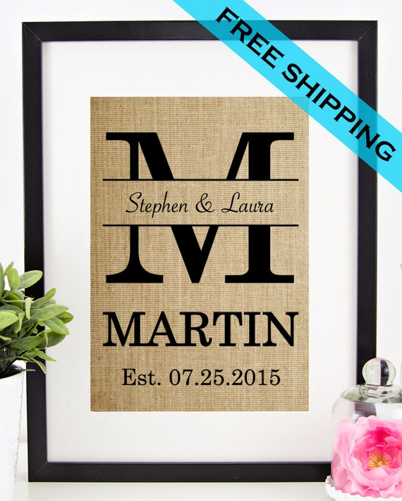 Monogrammed Wedding Gifts For Couple : Personalized Wedding Gift for Couple Bridal Shower Gift Rustic ...
