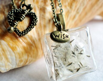 Dandelion seed necklace, square glass make a wish necklace with bronze accents.