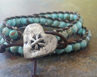 Leather Wrap Bracelet, Genuine Turquoise,Heart, 2x wrap bracelet, beaded bracelets, Bohemian Jewelry, Wrap Bracelets