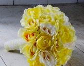Silk bridal bouquet, yellow roses, cream roses, yellow ranunculus