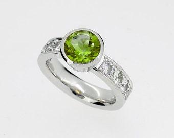 Peridot engagement ring, white sapphire ring, bezel engagement ring, white gold, yellow gold, rose gold, green engagement, peridot solitaire