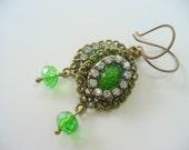 Green and Rhinestone Dangle Earrings, Antique Brass Earrings, Green Snake Skin Cameo, Womens Jewelry, Rhinestone and Cameo Earrings