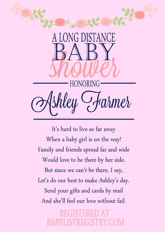 long distance baby shower invitation baby shower invite girl shower