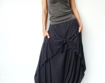 NO.86 Black Cotton-Blend Jersey Cool Unique Asymmetric Casual Loose Novelty Harem Pants, Trendy Unusual Trousers