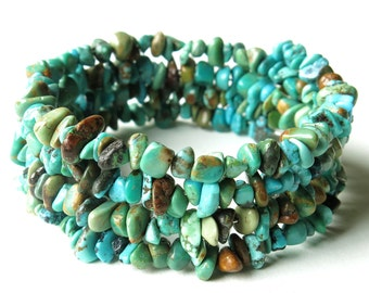 Turquoise bracelet stack stone wrap cuff