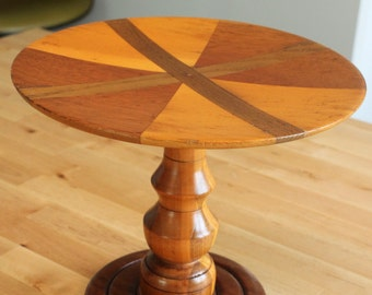 Beautiful inlaid wood vintage cake stand,wooden fruit pedestal, wood pastry stand, wood inlay tray