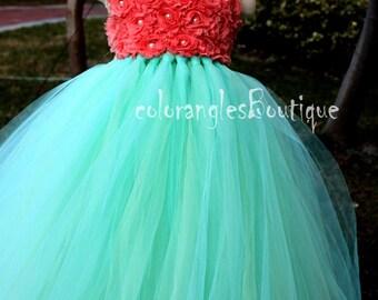 Tutu Flower Girl Dress Mint Coral flower girl dress baby dress toddler birthday dress wedding dress 0-8t