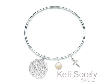 Stackable Bangle with Monogram Initials - Stacking Bangle with Pearl and Cross Charms - Sterling Silver, Yellow Gold or Rose gold