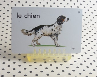 """Vintage 1962 """"Dog"""" Picture & Word Flash Card, Choice of English (dog), French (le chien) or Spanish (el perro), Whitman Publ, Racine, WI"""