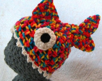 Funny Fish Hat 'Brain Food' Crocheted Accessory. Super Cosy, Soft, Stretchy Unisex Adult Hat, Quirky, Silly Gift. Available Now In Rainbow