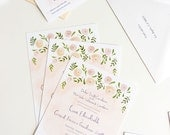 Spring Watercolor wedding custom illustrated invitation, map, and information card