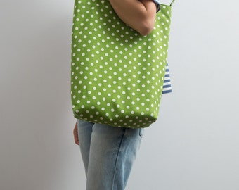 Tote Bag Funny Tote Polka Dot Bright Green Cotton Tote Large Bag Geometric Print Every Day Bag Green Hipster Tote Gift For Her Casual Bag