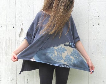 Oversized Tunic , loose fitting blue lagenlook shirt , pixie top mori clothing for womens size M-L top , assymetrical shirt , nomad clothing