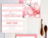 Modern Wedding Invitation - Ombre Pink Wedding Invitation sample {Fort Walton design - Pink Version}