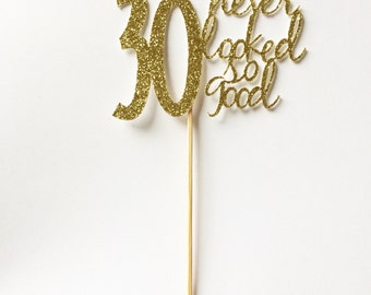 Gold- 30th birthday Cupcake Toppers- 30 never looked so good