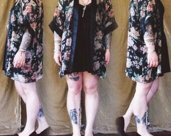 Vintage floral sheer kimono Boudoir top