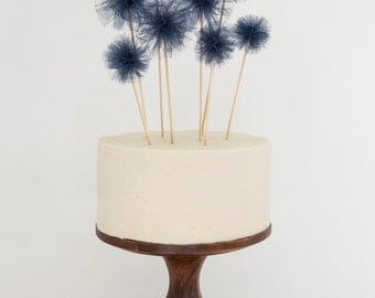 Tulle Pouf Cake Topper Set / Party Picks