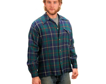 60s Blue Wool Plaid Shirt, 60s Men's Work Shirt, Boyfriend Shirt, Rugged Wool Shirt size M L