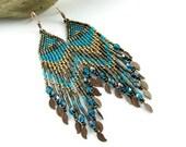Blue and brown Native American beaded long earrings - dangle earrings - beadwork jewelry - beadwork earrings - Last leaves in blue and brown