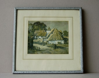 Vintage colour print of The Farm Yard by Rowland Hilder Thatched roof farm buildings Countryside landscape