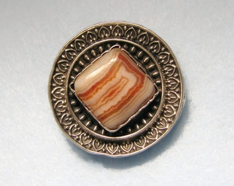 """VICTORIAN MEMORIAL Locket Brooch """"In Fond Remembrance of Dear Stanley"""" -- Sterling Silver and Banded Agate"""