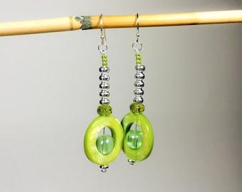 Galactic Green Glass Dangle Earrings