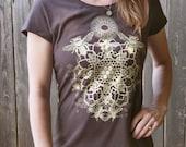 Heathered Chocolate Brown Bee Mandala T-shirt Printed in Light Honey Yellow on a Dark Brown Soft Screen Printed Tee