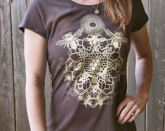 Heathered Chocolate Brown Bee Mandala T-shirt Printed in Light Honey Yellow on a Dark Brown Soft Screen Printed Tee