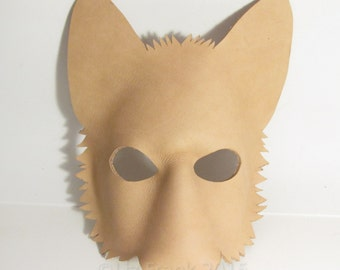 Blank Leather Wolf Mask Form, Animal mask, LARP, Cosplay, Leather mask, Fox mask,  DIY Mask, Halloween Mask, Costume, Theatre, Mardi Gras